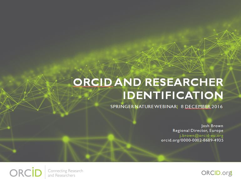 ORCID and researcher identification - Josh Brown (ORCID)