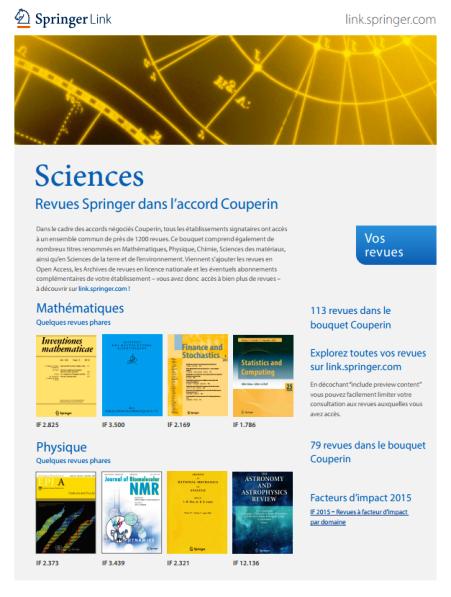 Revues Springer dans l'accord Couperin - Sciences