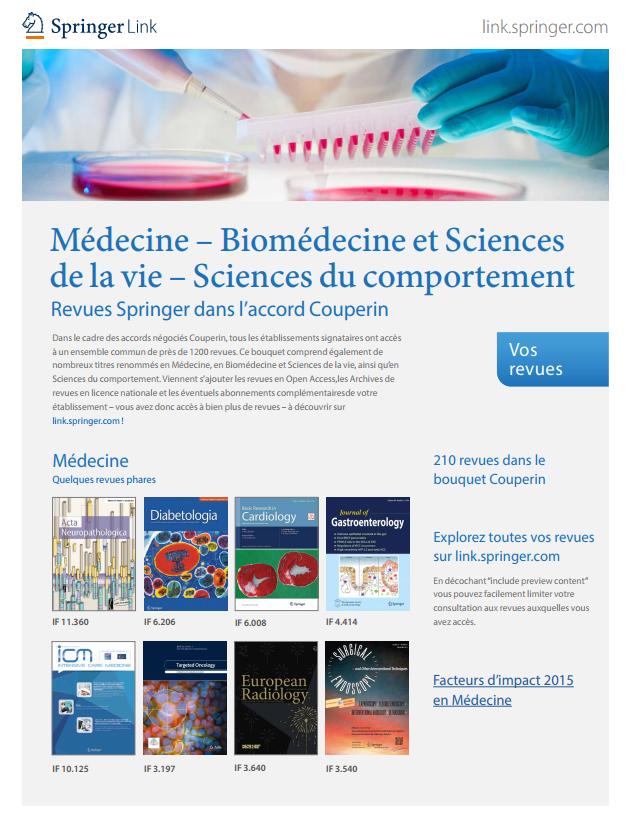 Revues Springer dans l'accord Couperin – Médecine, Biomédecine et Sciences de la vie