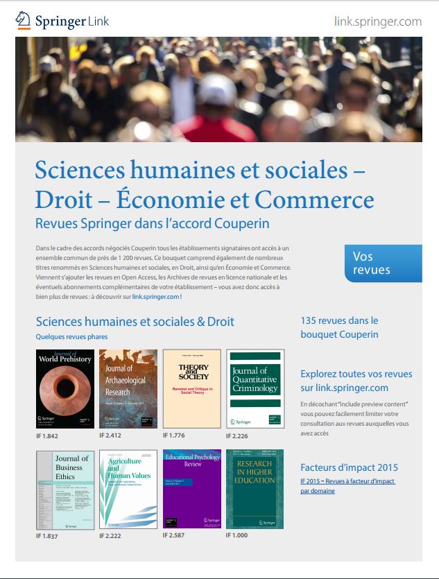 Revues Springer dans l'accord Couperin – Sciences humaines et sociales, Droit, Economie