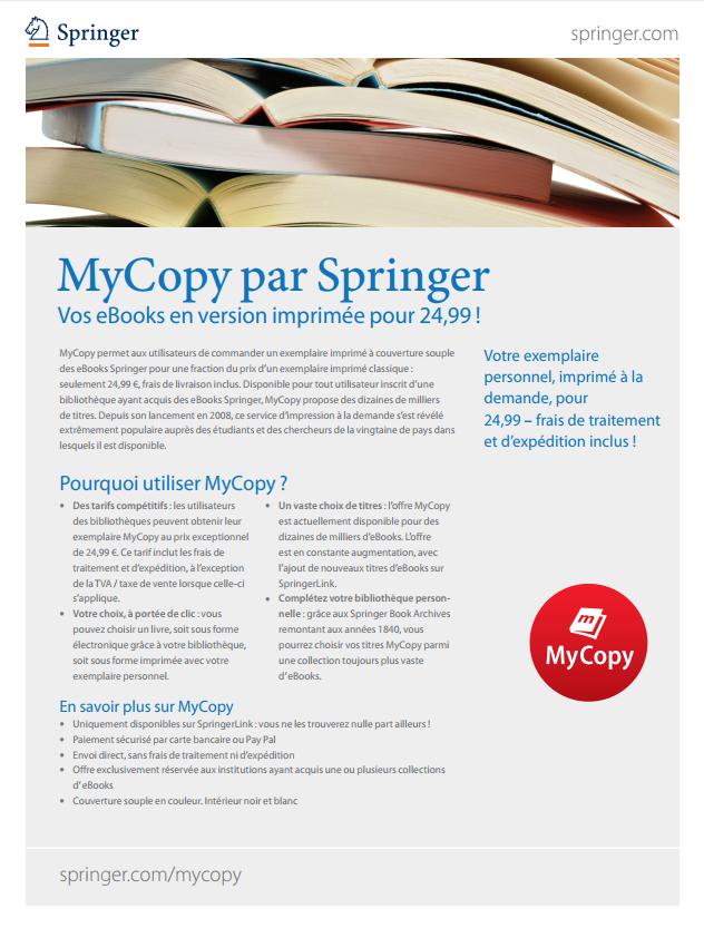 MyCopy par Springer - Vos eBooks en version imprimée pour 24,99 !