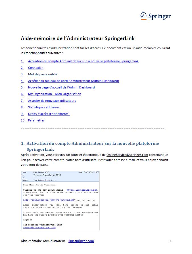 Aide-mémoire de l'Administrateur SpringerLink