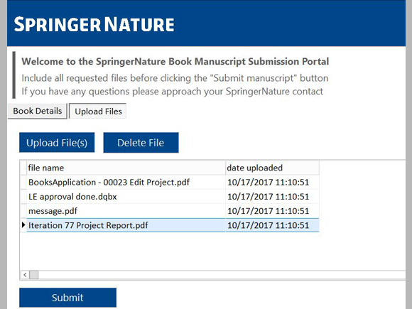 book manuscript submission portal © Springer