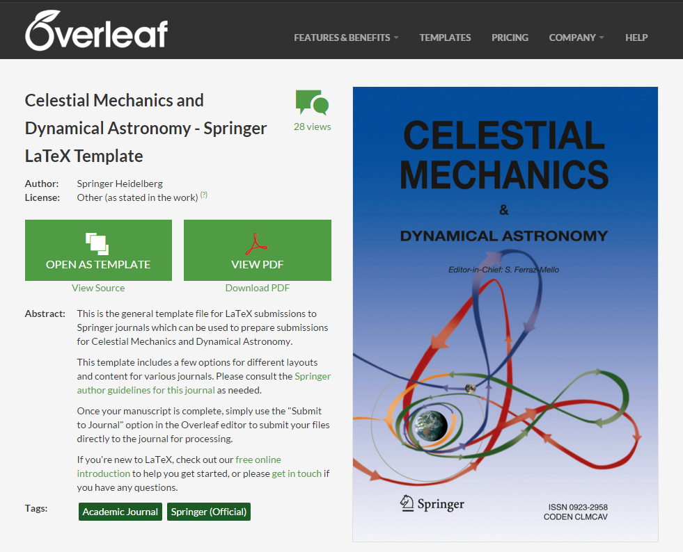 Overleaf-CELE-template-page-screenshot © ©SpringerNature