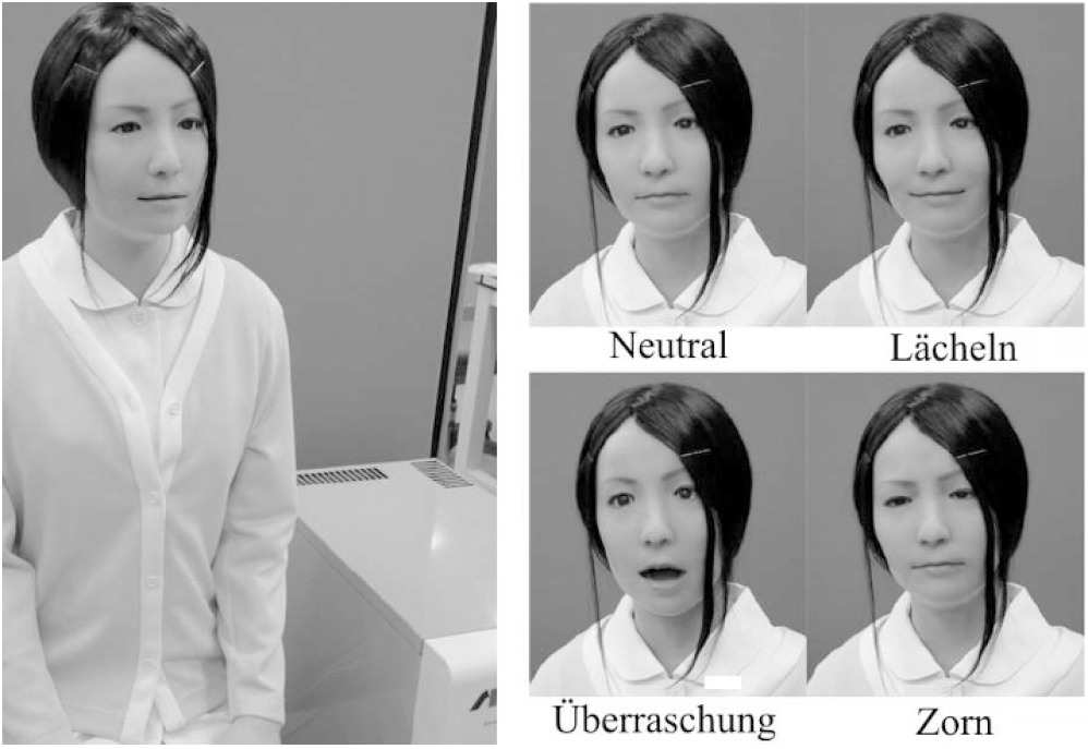 Der humanoide Roboter Actroid-F © Yoshikawa et al. (2011) An Android Robot for Psychological Support in Medical and Welfare Fields